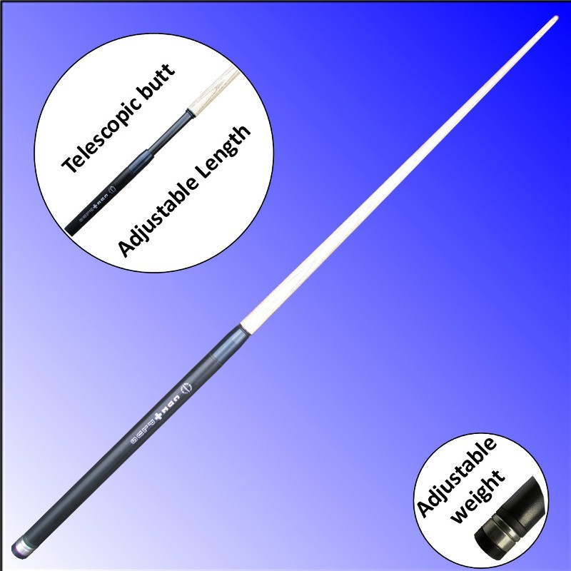 CuePlus 45 telescopic pool cue from Blue Moon Leisure. Adjustable length and adjustable weight.